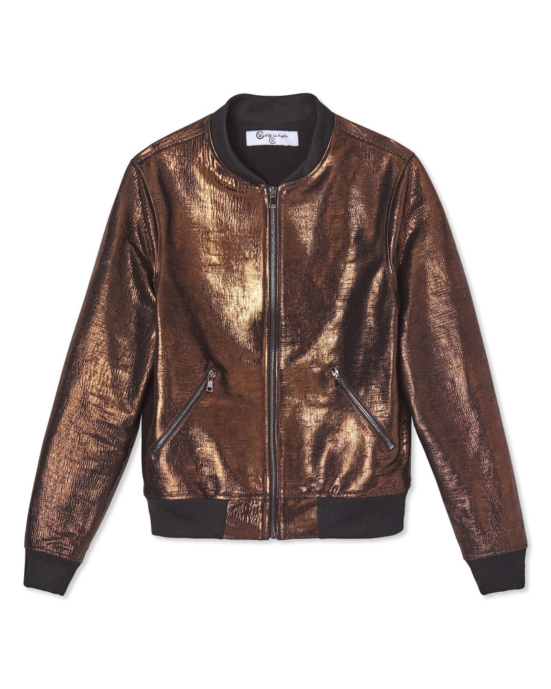 Meet Zane / Metallic Copper Laser Cut Lambskin Leather Bomber Jacket
