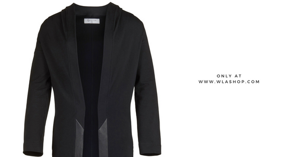 Video: Black Leather Contrast Duster Cardigan