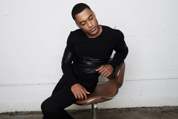 The Leather Panel Long Sleeve Shirt