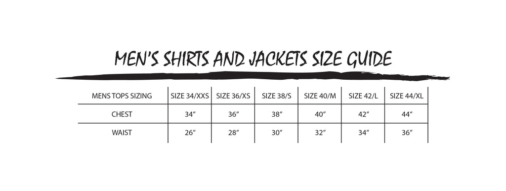 MEN'S CLOTHING SIZE GUIDE