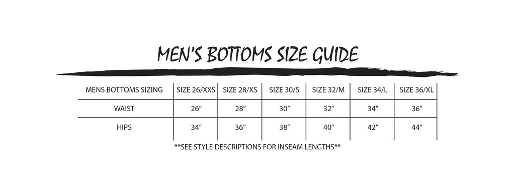 MEN'S CLOTHING SIZE CHART