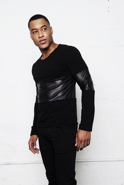 BLACK JERSEY LEATHER PANEL LONG SLEEVE SHIRT