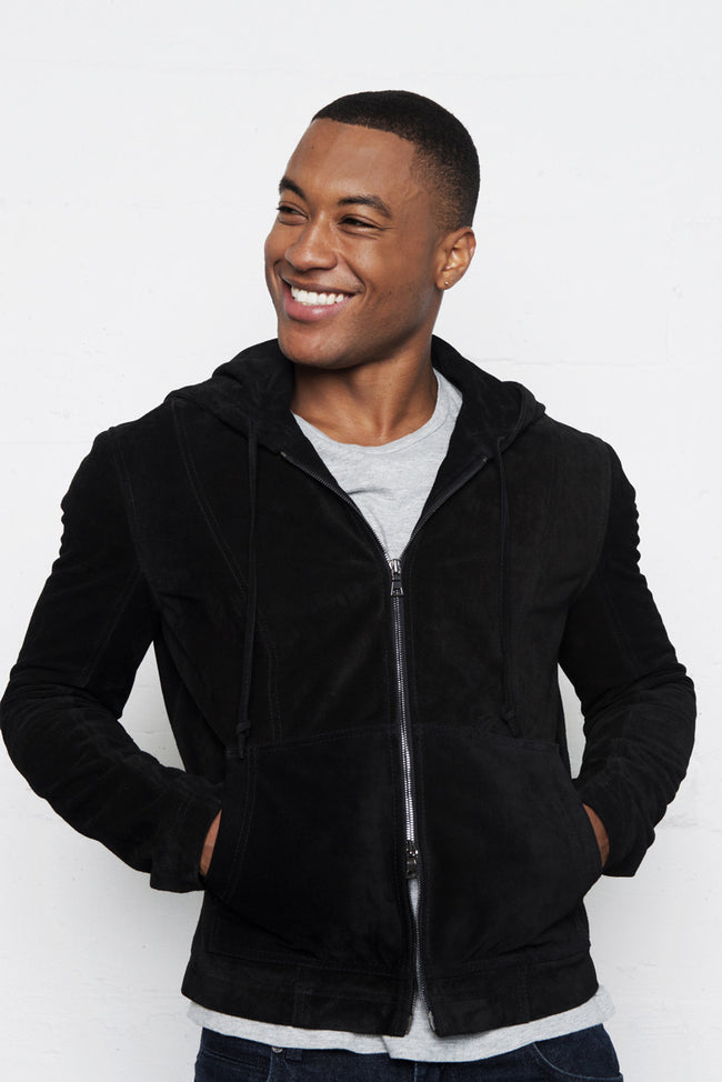 Black Italian Suede Leather Hoodie Jacket