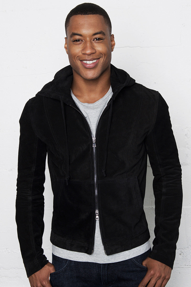 HAYDEN ITALIAN SUEDE LEATHER HOODIE JACKET NOIR