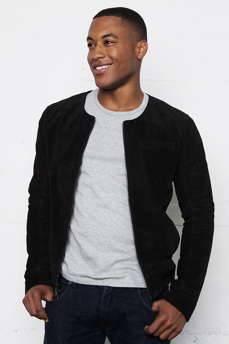 ROMEO ITALIAN LEATHER SUEDE ROUND NECK JACKET NOIR