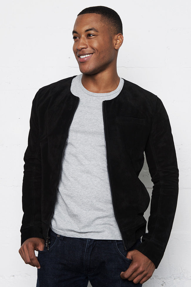 Black Italian Suede Leather Round Neck Jacket