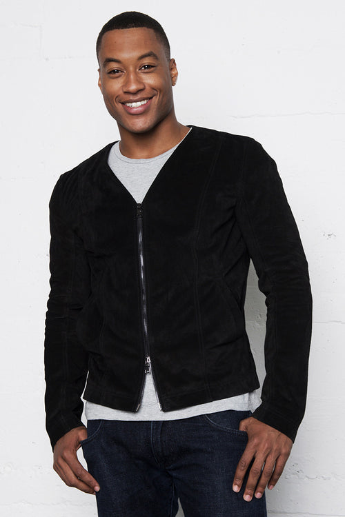 Black Italian Suede Leather V-Neck Jacket