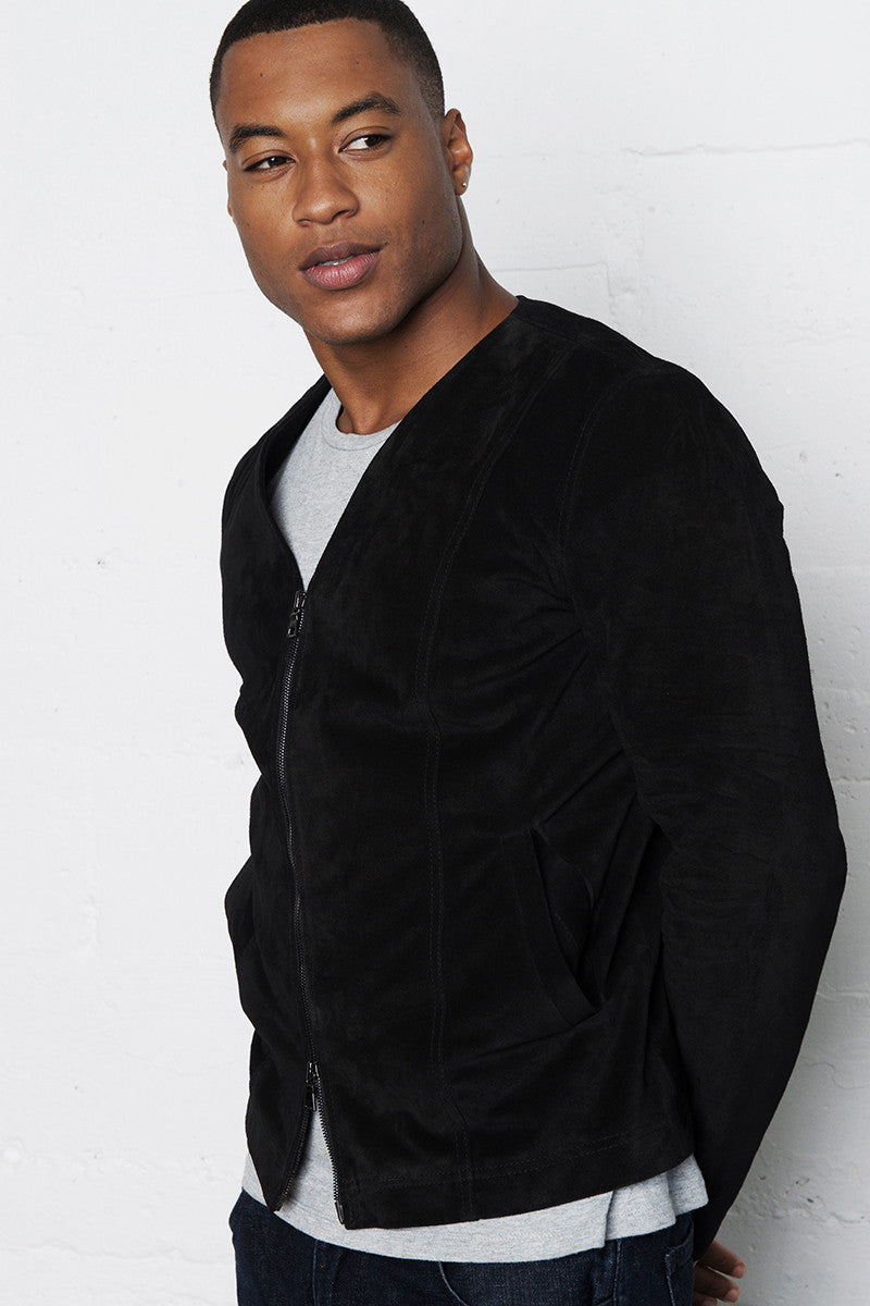 VIKTOR ITALIAN LEATHER SUEDE V-NECK JACKET NOIR