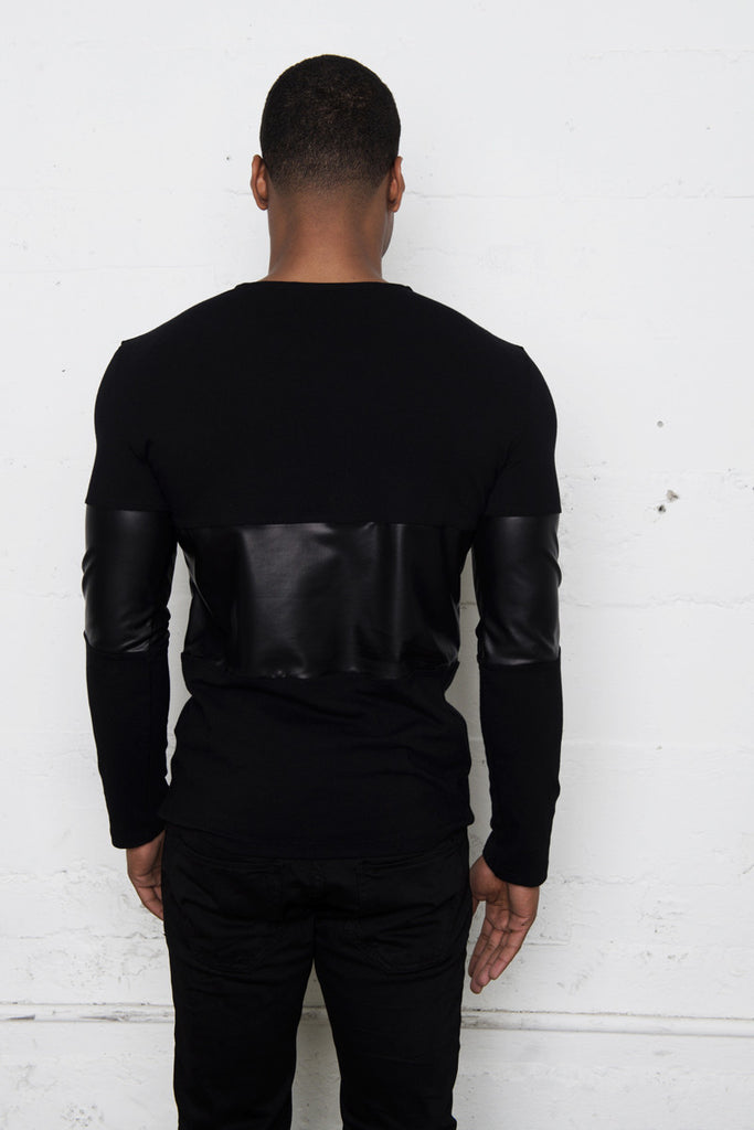 Black Jersey Leather Contrast Long Sleeve Shirt