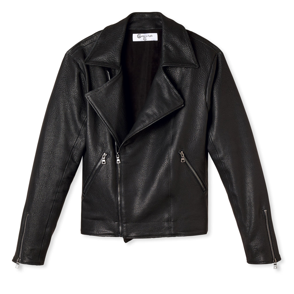 JONATHAN LASER CUT LEATHER BIKER JACKET NOIR