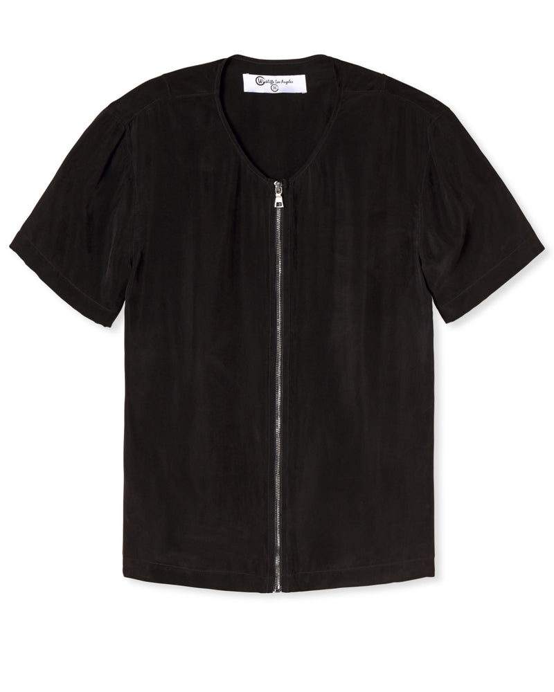 ZACHARY ZIP FRONT SHIRT NOIR