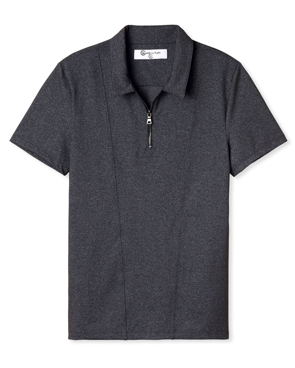KENNETH ZIPPER POLO DARK HEATHER GREY
