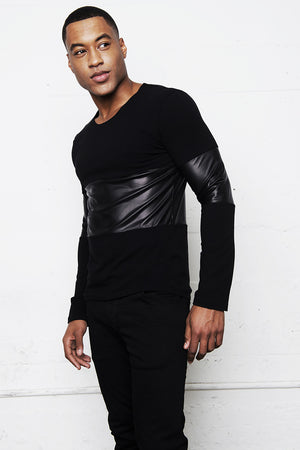 GAUTIER FAUX LEATHER PANEL SHIRT