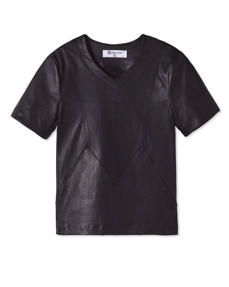 LIAM STRETCH LEATHER SHIRT NOIR