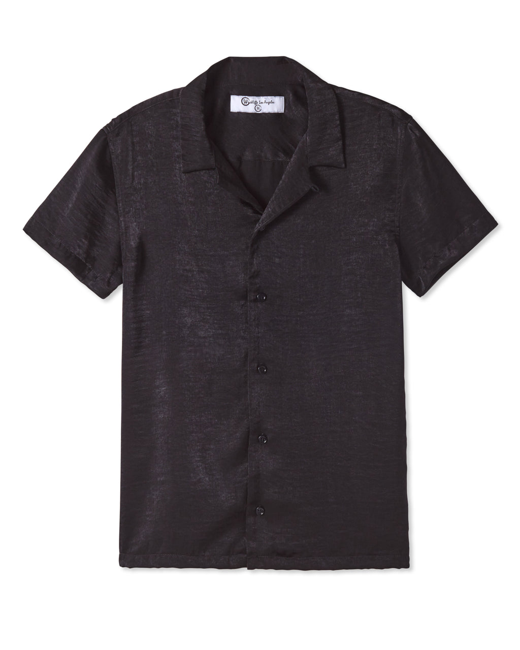 STERLING SHARK BITE COLLAR SHORT SLEEVE SHIRT NOIR