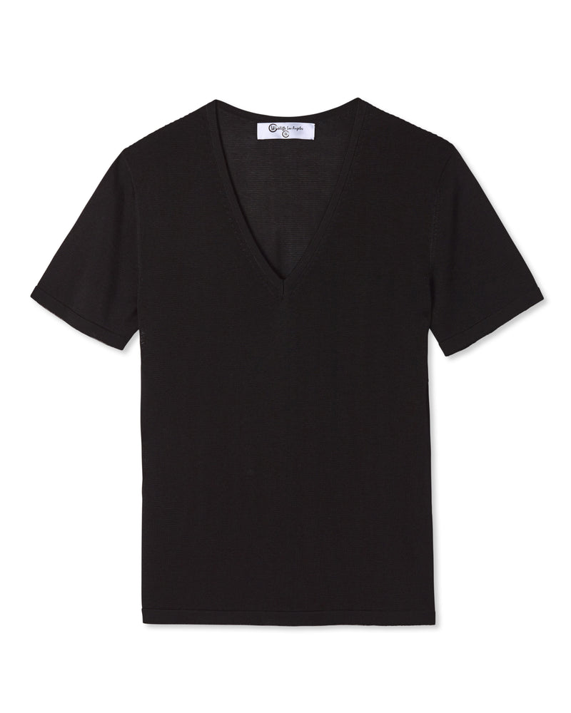 VALEN V-NECK KNIT SHIRT NOIR