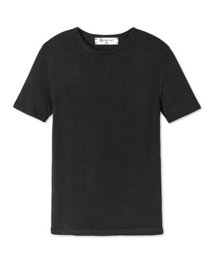 ELIO PLAITED KNIT CREW NECK NOIR