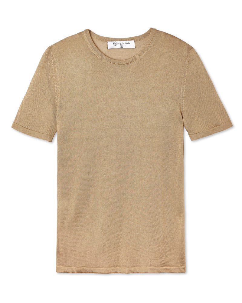 SALVATORE SHINY KNIT CREW NECK GOLD CAMEL