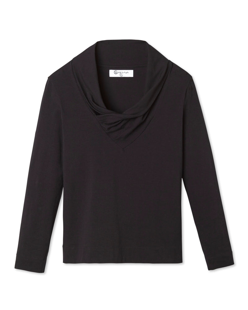 STEPHAN DRAPED NECK LONG SLEEVE SHIRT NOIR
