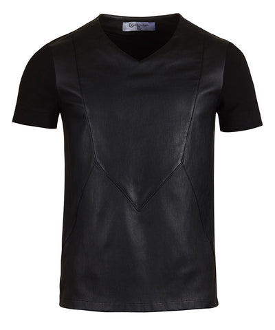 Black Jersey Leather Contrast Tank Top