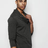 Stephan Draped Neck Long Sleeve Shirt Charcoal