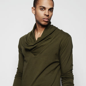 STEPHAN DRAPED NECK LONG SLEEVE SHIRT ARMY GREEN