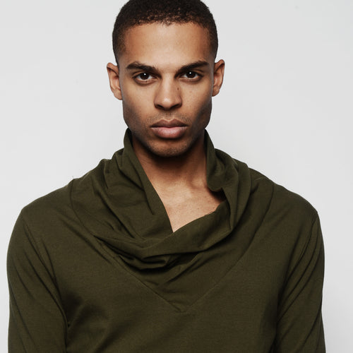 Stephan Draped Neck Long Sleeve Shirt Olive