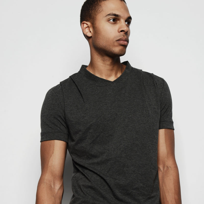 PROSPER DRAPED SHOULDER SHIRT TONAL CHARCOAL