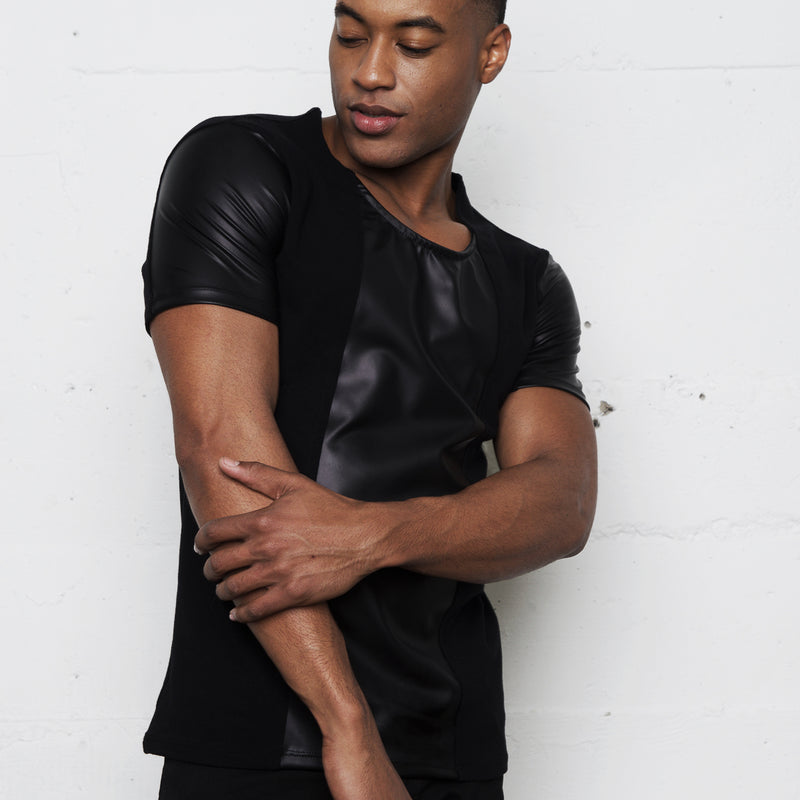 KANE FAUX LEATHER SHORT SLEEVE SHIRT