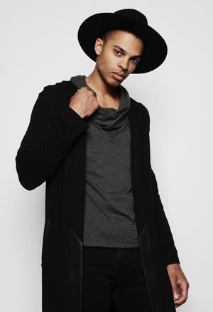STEPHAN DRAPED NECK LONG SLEEVE SHIRT TONAL CHARCOAL