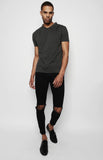 Tonal Charcoal Pleated Shoulder T-Shirt