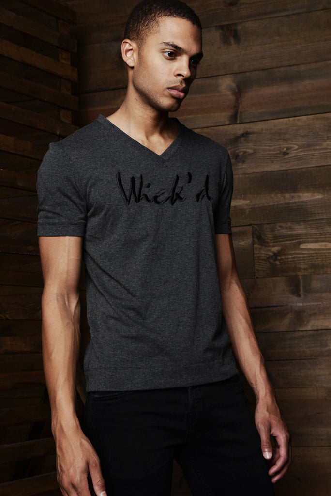 Tonal Charcoal Wick'd Embroidered V-Neck T-Shirt