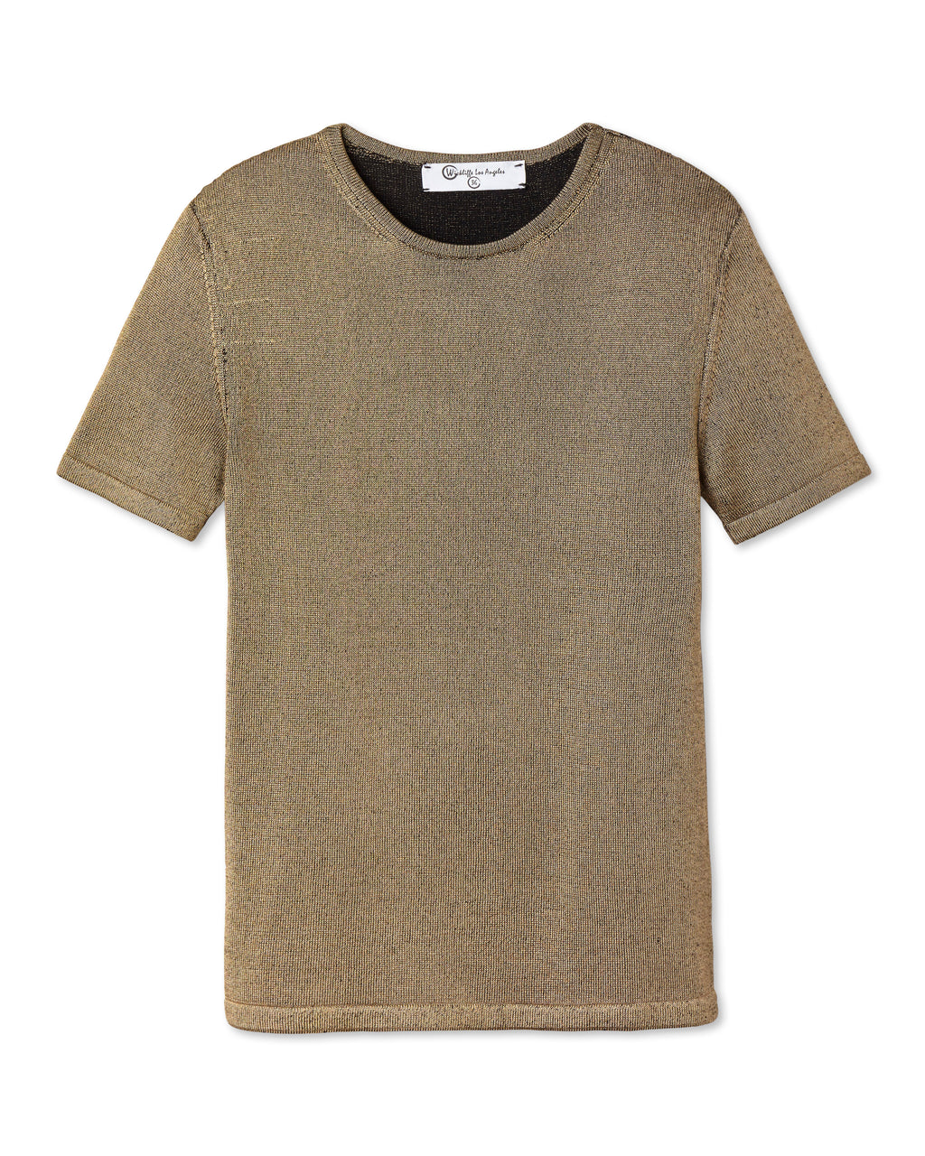ELIO PLAITED KNIT CREW NECK GOLD BLACK