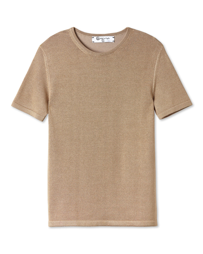 ELIO PLAITED KNIT CREW NECK GOLD CAMEL