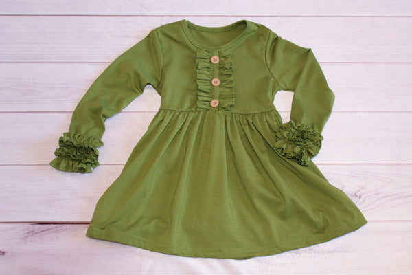 Olive Long Sleeve Ruffle Dress