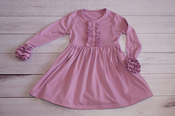 Light Purple Long Sleeve Ruffle Dress