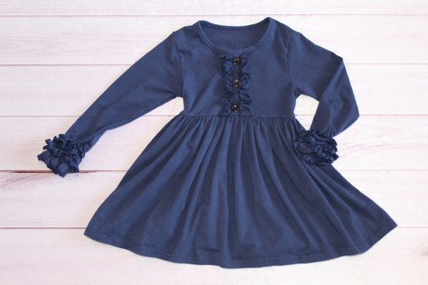 Long Sleeve Navy Ruffle Dress