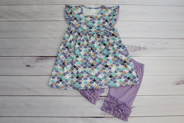 Mermaid Ruffle Short Set