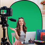 AFHT 5'X7'Portable Green Screen Backdrop with Stand Blue and Green