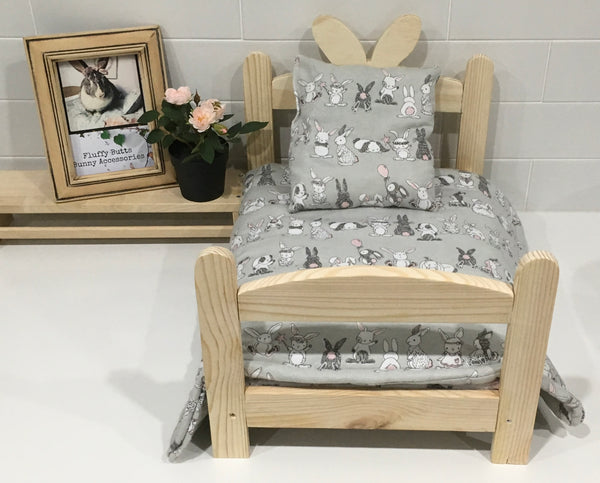 Grey Playtime Bunny Print Bedding Set
