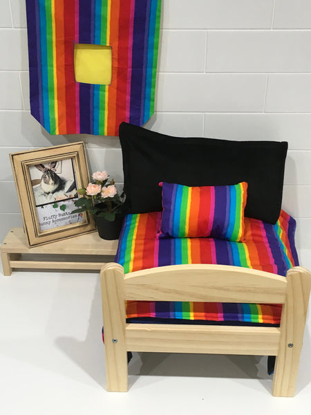 Rainbow Striped Bedding Set With Optional Hay bag