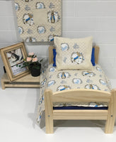 Oatmeal and White Blue Rabbit Bedding Set With Optional Hay Bag