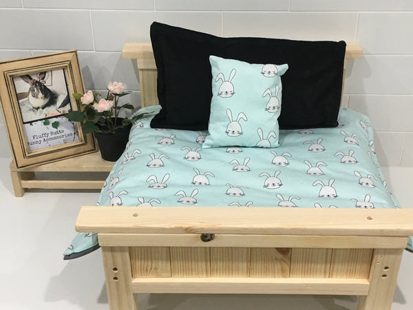 Teal with White Bunny Head Bedding Set