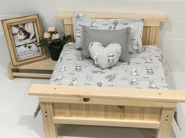 White and Grey Bunny Print Flannelette Bedding Set