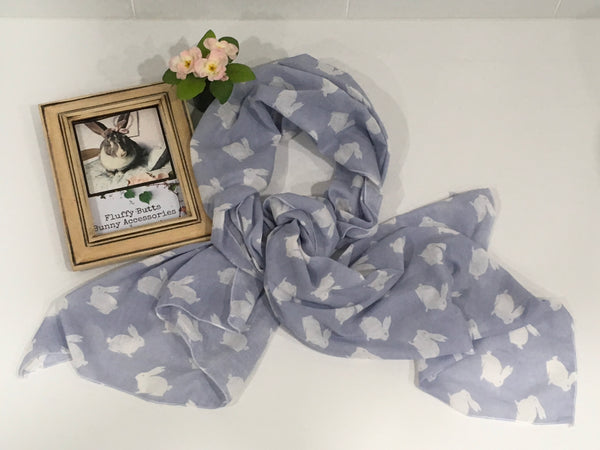 White Rabbit Print Environmentally Friendly Muslin Scarf