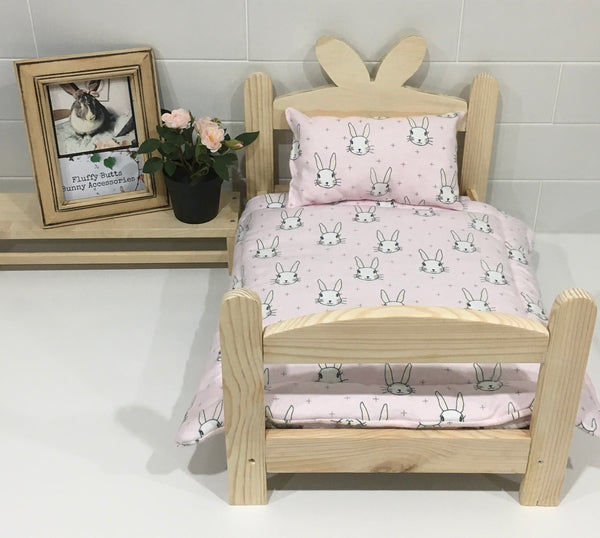 Pink Rabbit Flannelette Bedding Set