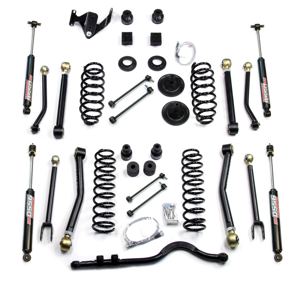 Jeep JKU 4 Door 4 Inch Lift Kit w/ 8 Flexarms Track Bar and 9550 Shocks 07-18 Wrangler JKU TeraFlex
