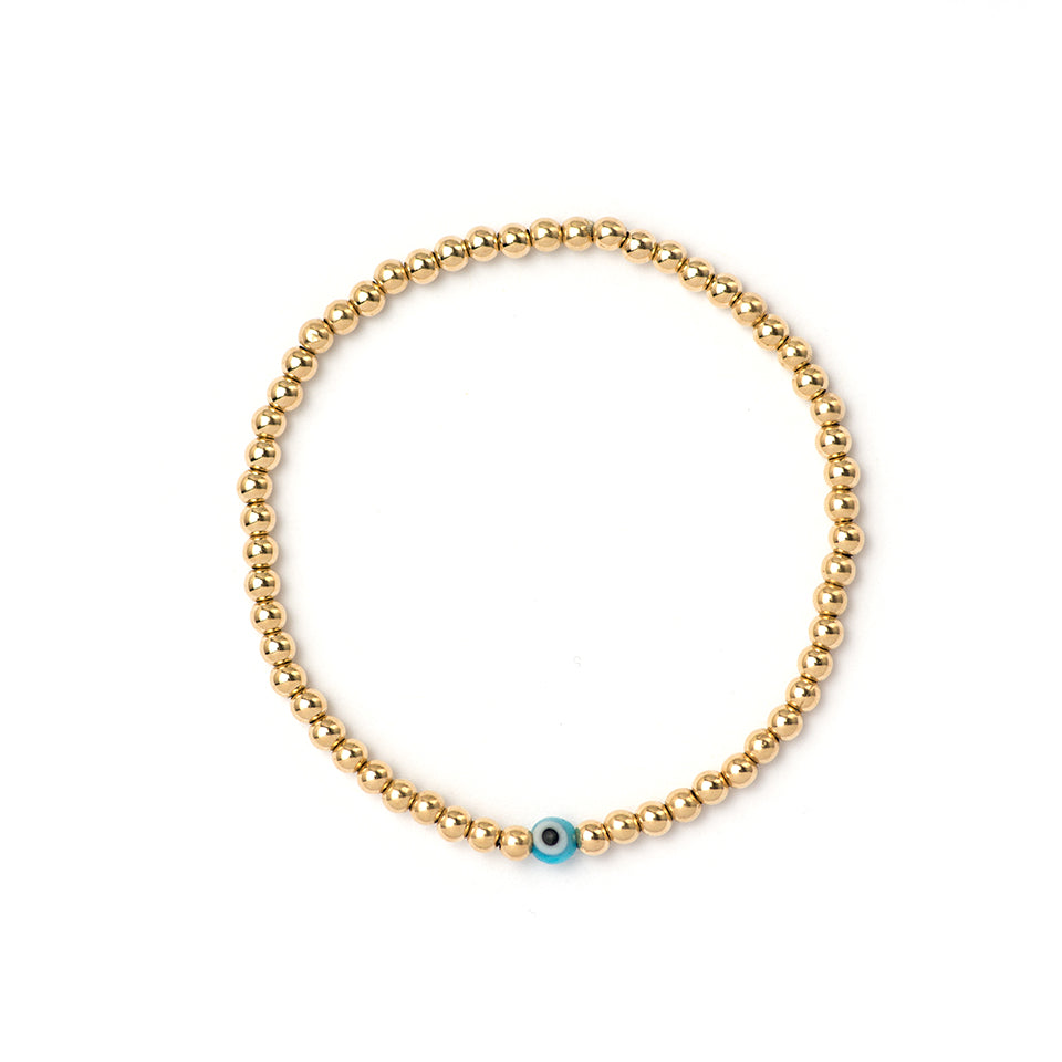 3mm Gold Bracelet with Evil Eye