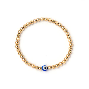 4mm Gold Bracelet with Evil Eye