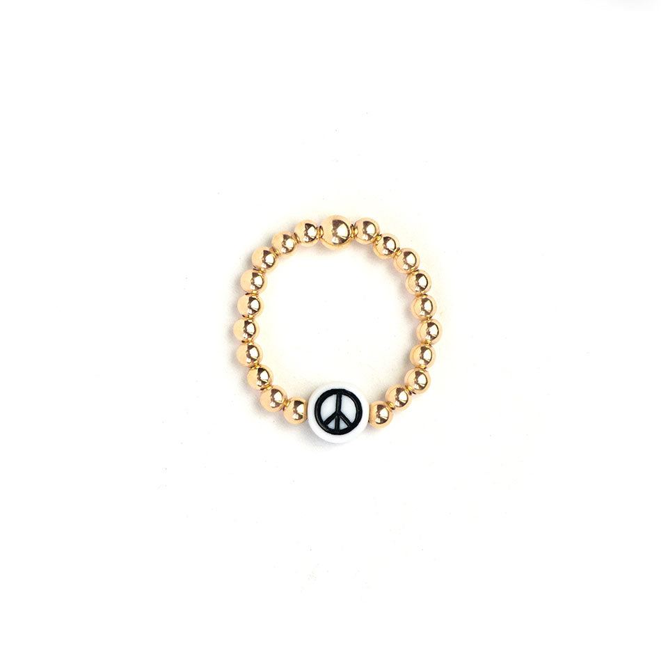 Gold Peace Beaded Ring